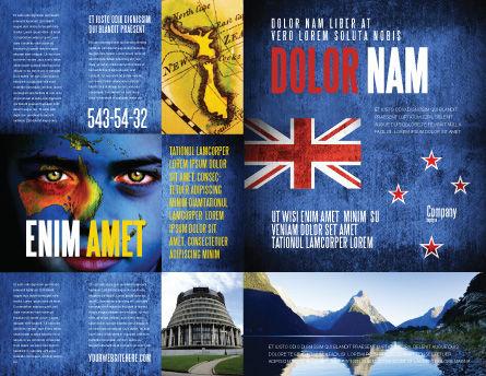 New Zealand Brochure Template, Outer Page, 04258, Flags/International — PoweredTemplate.com