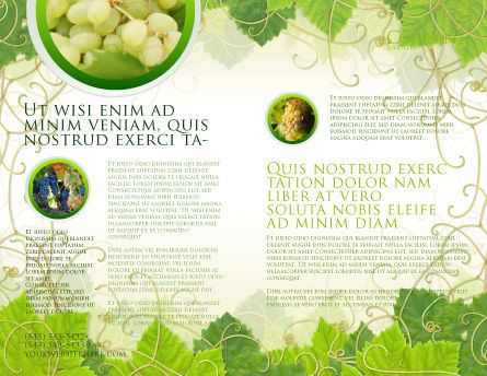 Grape Leaves Ornament Brochure Template, Inner Page, 04421, Nature & Environment — PoweredTemplate.com