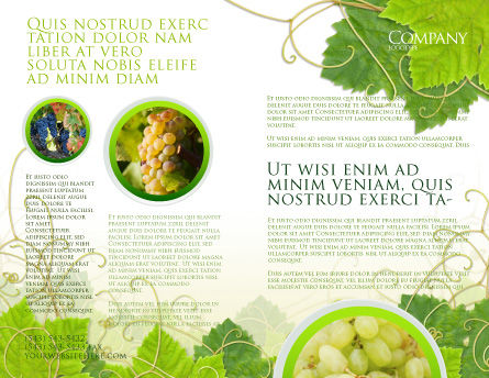 Grape Leaves Ornament Brochure Template, Outer Page, 04421, Nature & Environment — PoweredTemplate.com
