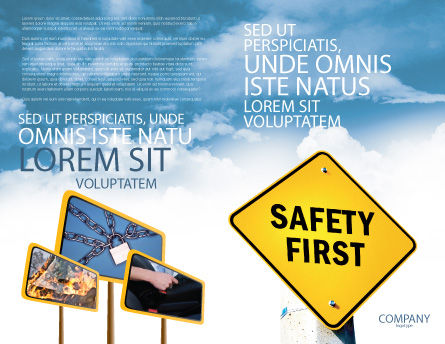 Safety First Brochure Template, Outer Page, 04449, Careers/Industry — PoweredTemplate.com