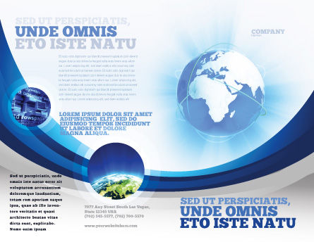 Blue Globe Brochure Template Outer Page