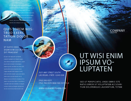 Deep Waters Brochure Template, Outer Page, 04488, Nature & Environment — PoweredTemplate.com
