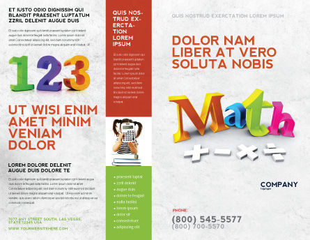 Math Addition Brochure Template, Outer Page, 04501, Education & Training — PoweredTemplate.com
