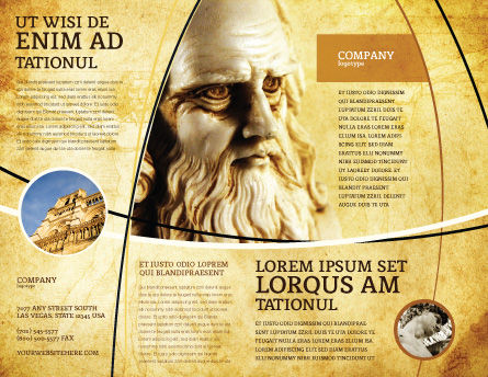 Leonardo Da Vinci Brochure Template, Outer Page, 04517, Education & Training — PoweredTemplate.com