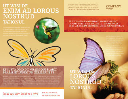 Butterfly In Your Hands Brochure Template, Outer Page, 04567, Nature & Environment — PoweredTemplate.com