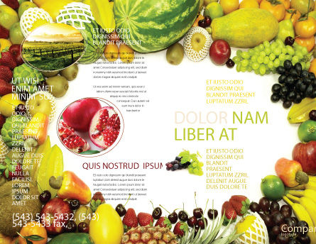 Fruit Profusion Brochure Template, Outer Page, 04634, Agriculture and Animals — PoweredTemplate.com