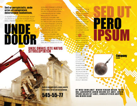 Demolition Brochure Template, Outer Page, 04661, Construction — PoweredTemplate.com