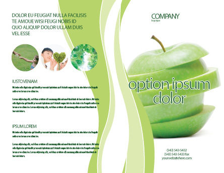 apple pages brochure templates - sliced green apple brochure template design and layout