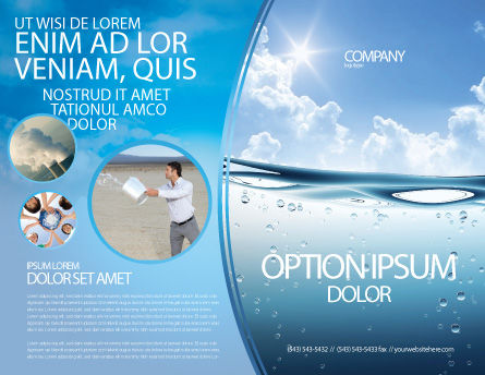 Water Wave Brochure Template Outer Page