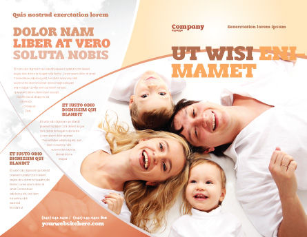 Lucky Family Brochure Template, Outer Page, 04888, People — PoweredTemplate.com