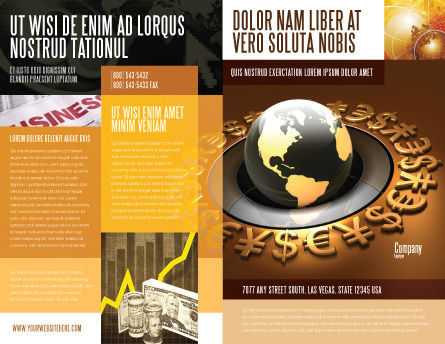 Global Currency Brochure Template, Outer Page, 05065, Financial/Accounting — PoweredTemplate.com