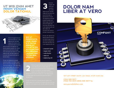 Data Protection Key Brochure Template, Outer Page, 05074, Technology, Science & Computers — PoweredTemplate.com