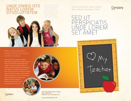 I Love My Teacher Brochure Template, Outer Page, 05109, Education & Training — PoweredTemplate.com