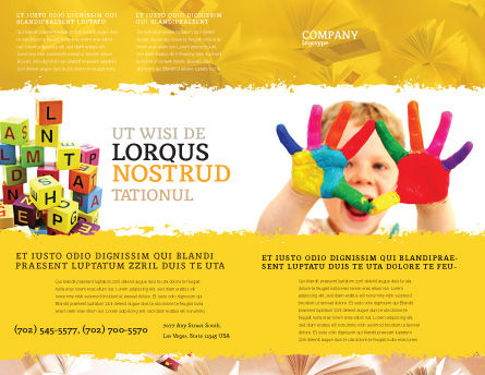 Colored Lines Brochure Template, Outer Page, 05112, People — PoweredTemplate.com