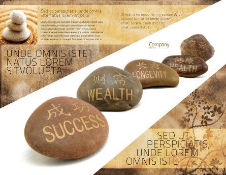 Feng Shui Stones Brochure Template, Outer Page, 05166, Religious/Spiritual — PoweredTemplate.com
