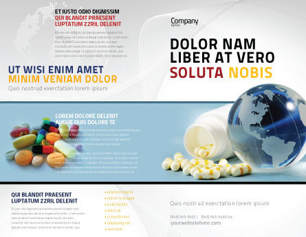Bottle Of Tablets With Globe Brochure Template Outer Page