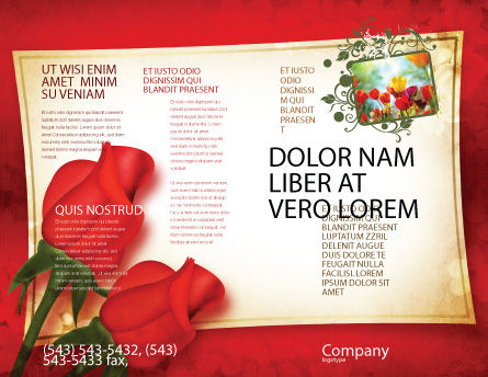 Red Roses Card Brochure Template, Outer Page, 05207, Holiday/Special Occasion — PoweredTemplate.com