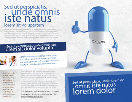 Blue Pill Brochure Template, Outer Page, 05210, Medical — PoweredTemplate.com