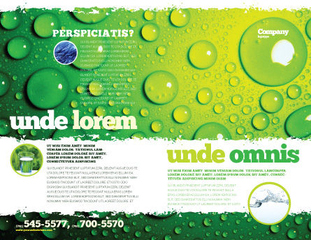 Green Water Drops Brochure Template Outer Page