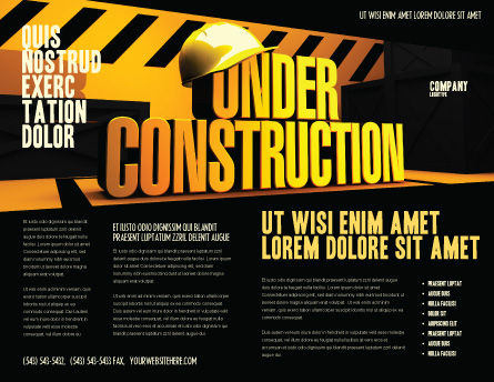 Closed Under Construction Brochure Template, Outer Page, 05236, Business Concepts — PoweredTemplate.com