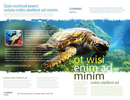Sea Turtle Brochure Template, Outer Page, 05237, Agriculture and Animals — PoweredTemplate.com