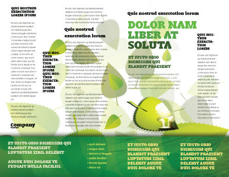 Green Leaf Falling Brochure Template, Inner Page, 05260, Nature & Environment — PoweredTemplate.com