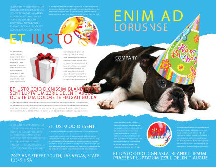 Happy Birthday Puppy Brochure Template, Outer Page, 05265, Holiday/Special Occasion — PoweredTemplate.com