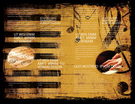 Piano Keyboard With Treble Clef Brochure Template, Inner Page, 05289, Careers/Industry — PoweredTemplate.com