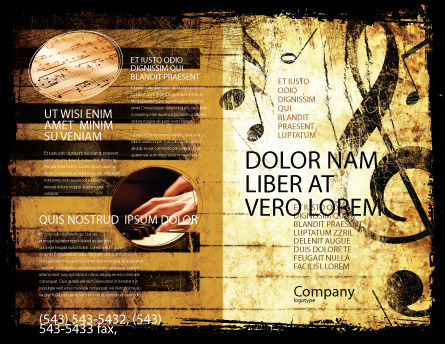 Piano Keyboard With Treble Clef Brochure Template, Outer Page, 05289, Careers/Industry — PoweredTemplate.com