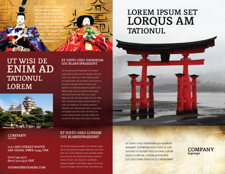 Ancient Japan Brochure Template, Outer Page, 05350, Art & Entertainment — PoweredTemplate.com