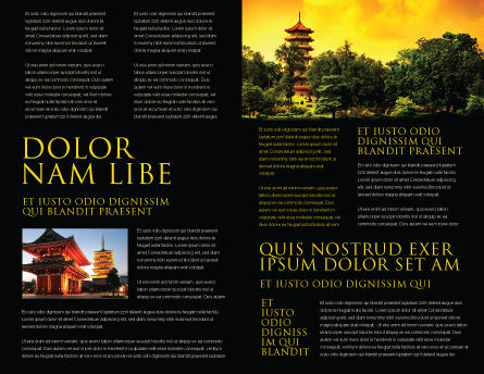 Pagoda Brochure Template, Inner Page, 05428, Flags/International — PoweredTemplate.com