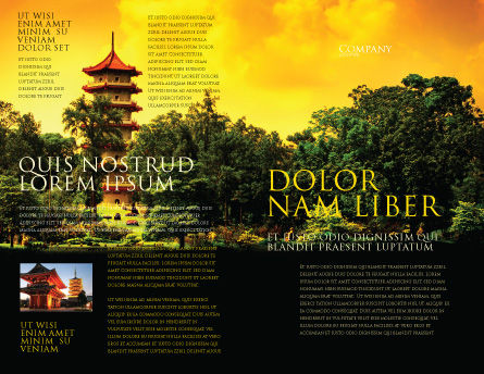 Pagoda Brochure Template, Outer Page, 05428, Flags/International — PoweredTemplate.com