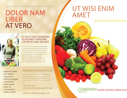Fruits and Vegetables Brochure Template, Outer Page, 05579, Agriculture and Animals — PoweredTemplate.com