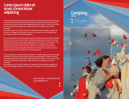 Graduation In Red Blue Colors Brochure Template, Outer Page, 05620, Education & Training — PoweredTemplate.com