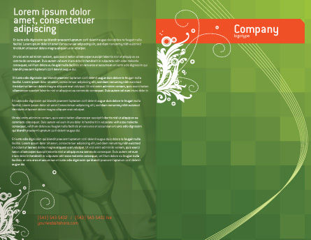 Green Background With White Vegetative Decor Brochure Template, Outer Page, 05621, Art & Entertainment — PoweredTemplate.com