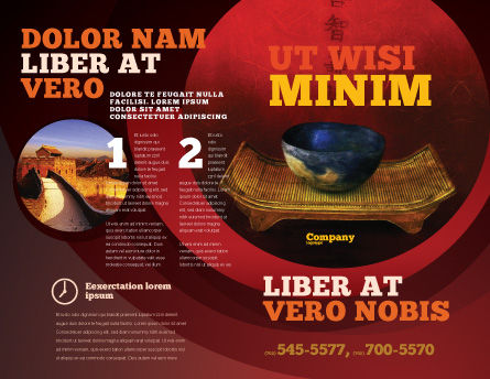 Chinese Bowl Brochure Template, Outer Page, 05716, Art & Entertainment — PoweredTemplate.com
