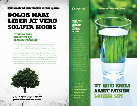 Glass of Water Brochure Template, Outer Page, 05815, Food & Beverage — PoweredTemplate.com