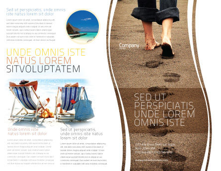 Sand Footprints Brochure Template, Outer Page, 05834, Religious/Spiritual — PoweredTemplate.com