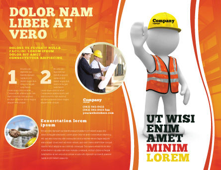 Symbolic Figure Of A Builder Brochure Template, Outer Page, 05877, Construction — PoweredTemplate.com