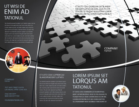 Silver Puzzle Brochure Template, Outer Page, 05940, Consulting — PoweredTemplate.com