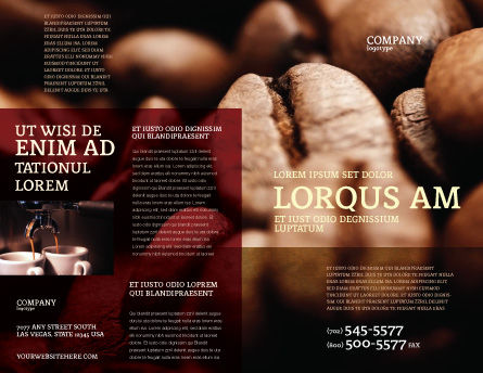Coffee Beans In Brown Color Brochure Template, Outer Page, 05941, Food & Beverage — PoweredTemplate.com