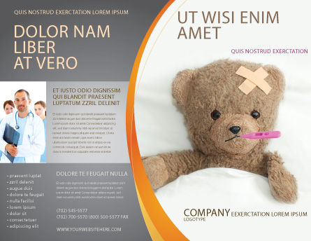 Wounded Teddy Bear Brochure Template, Outer Page, 06030, Medical — PoweredTemplate.com