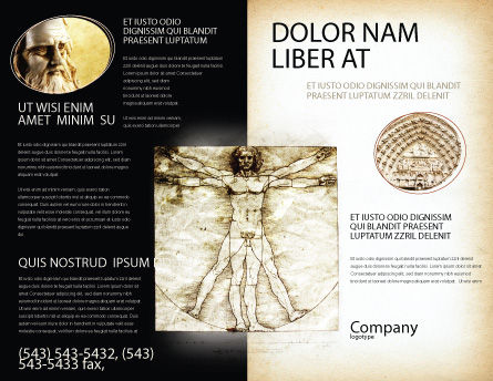Vitruvian Man By Leonardo da Vinci Brochure Template, Outer Page, 06107, Education & Training — PoweredTemplate.com