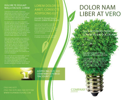 Green Eco Lamp Brochure Template, Outer Page, 06530, Technology, Science & Computers — PoweredTemplate.com