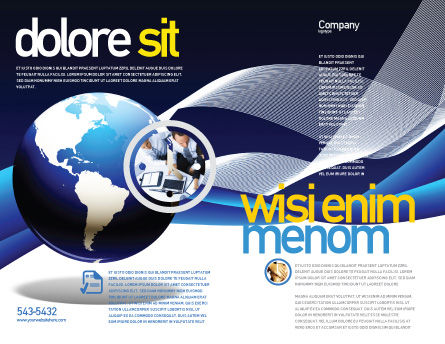 Midnight Blue Globe Brochure Template, Outer Page, 06588, Global — PoweredTemplate.com