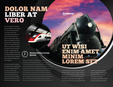 Steam Locomotive Brochure Template, Outer Page, 06610, Cars/Transportation — PoweredTemplate.com