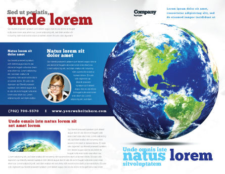 World Globe Brochure Template, Outer Page, 06636, Global — PoweredTemplate.com