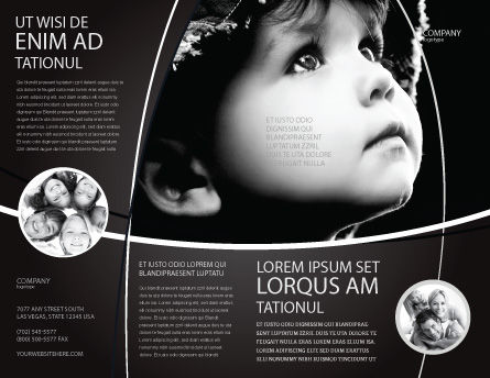 Child In Black And White Brochure Template, Outer Page, 06817, People — PoweredTemplate.com
