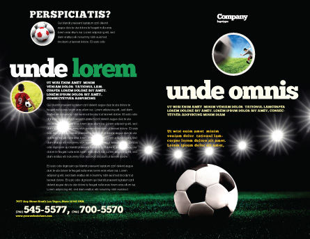 Football Stadium In The Night Brochure Template, Outer Page, 06916, Sports — PoweredTemplate.com