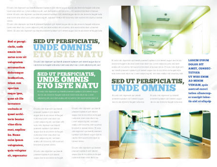 Hospital Hallway Brochure Template, Inner Page, 06928, Medical — PoweredTemplate.com